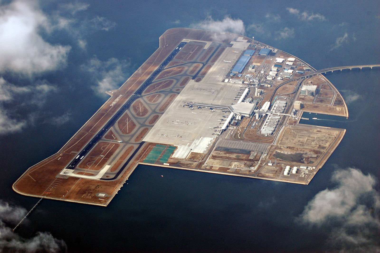 Nagoya Chubu Centrair International Airport serves Nagoya and is located on an artificial island in Ise Bay.